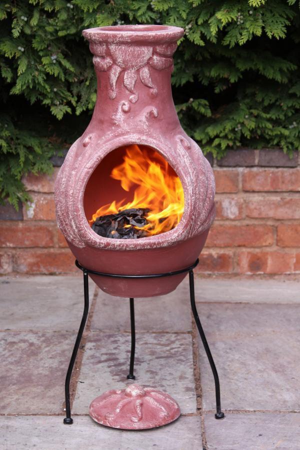 Mexican Clay Chimenea Fire Clay Chiminea Patio Heater Fire Bowl Barbeque Stove Ebay
