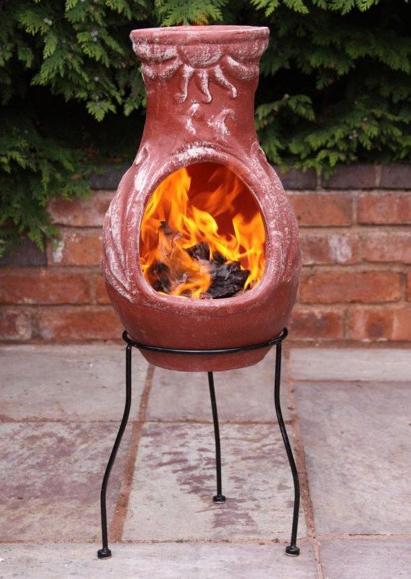 Fire Made Of Clay : Mexican clay chimenea fire chiminea patio heater