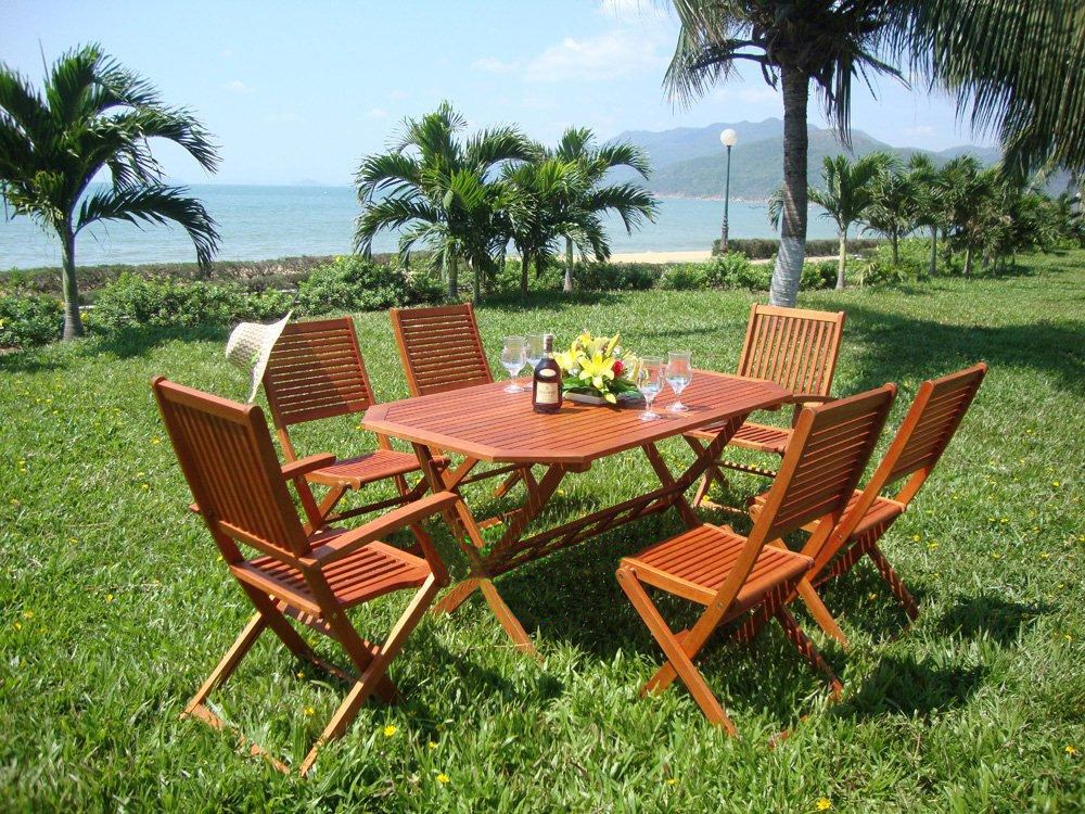 4 or 6 seater wooden garden table and chairs set for Wooden garden furniture