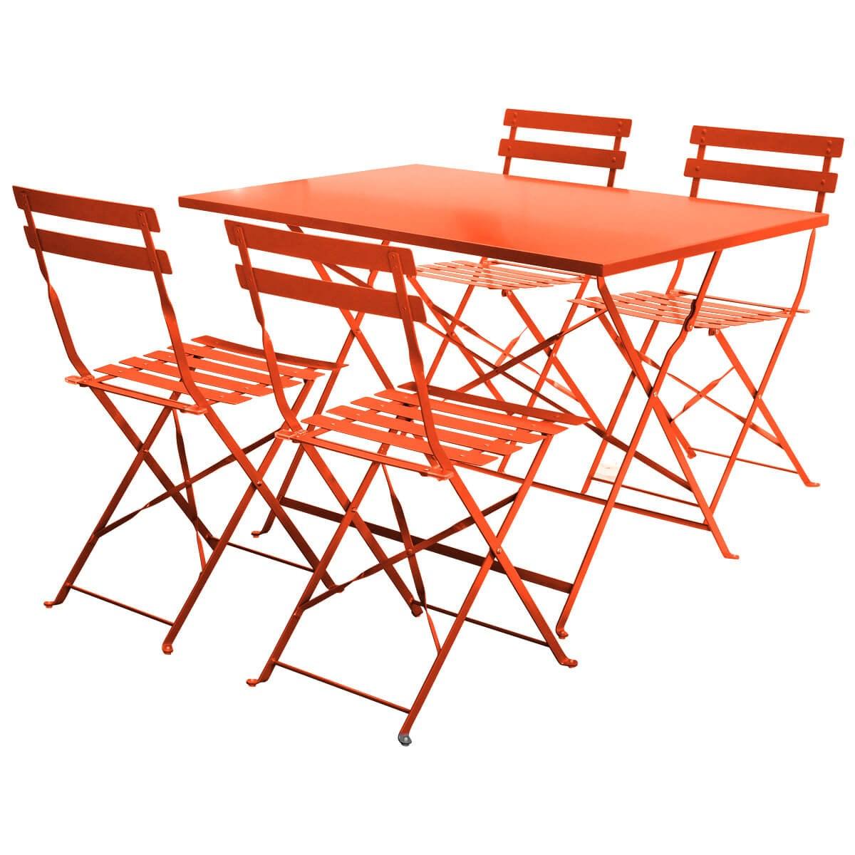 4 Seater Folding Bistro Set Navy or Orange