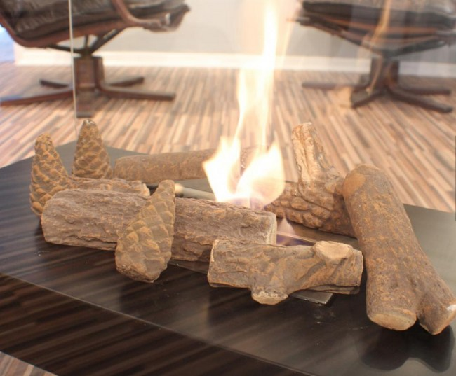 9 Ceramic Decorative Logs For Bio Ethanol Burners And Stoves