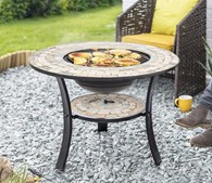 Mosaic Firepit with BBQ Grill and Table Insert