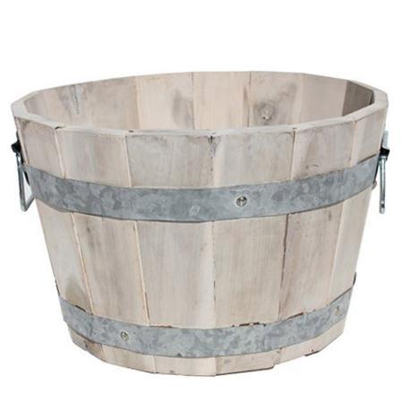 Acacia Rustic Wooden Barrel Plant Pot