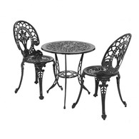 Aluminium Bistro Set Black