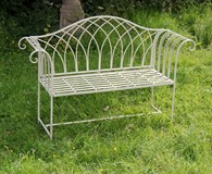 Antique Cream Shabby Chic Garden Bench