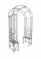 Arbour Steel Garden Arch With Garden Benches