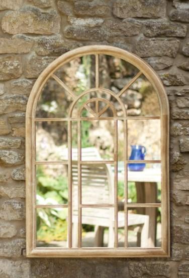 Arched Metal Garden Mirror Stone Effect