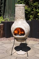 Beige Chimenea with Flowers Design