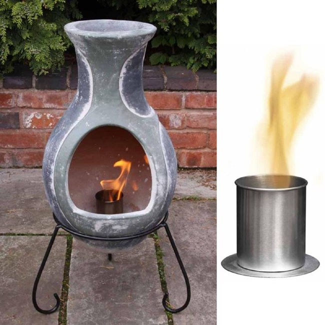 bio ethanol burner fire bowl chimenea burner outdoor eco patio heater. Black Bedroom Furniture Sets. Home Design Ideas