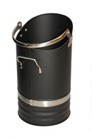 Black Coal Bucket with Stainless Steel Trim