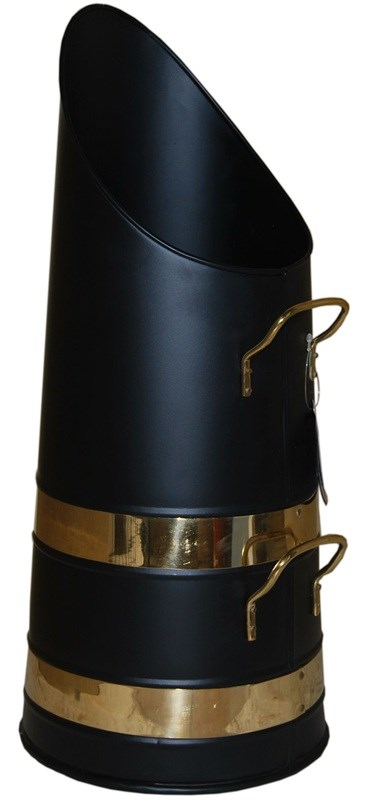 Black Coal Hod with Brass Trim