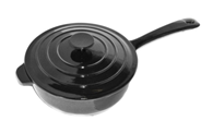 Black Enamel Cast Iron Skillet Cooking Pot Saucepan with Lid