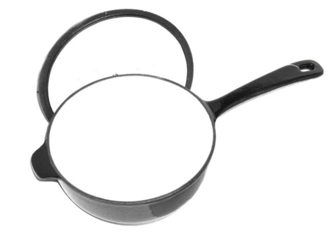 Black Enamel Cast Iron Skillet Cooking Pot Saucepan With Lid