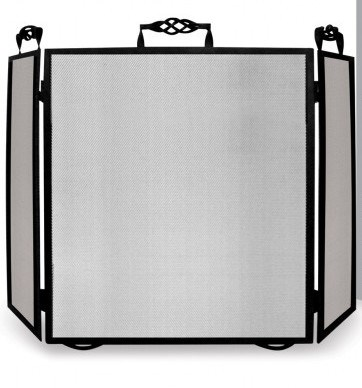 Black Fire Screen with Folding Sides