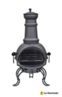 Black Steel Chimenea with Barbeque Combined