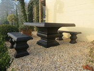 Black Stone Garden Bench Slate Look