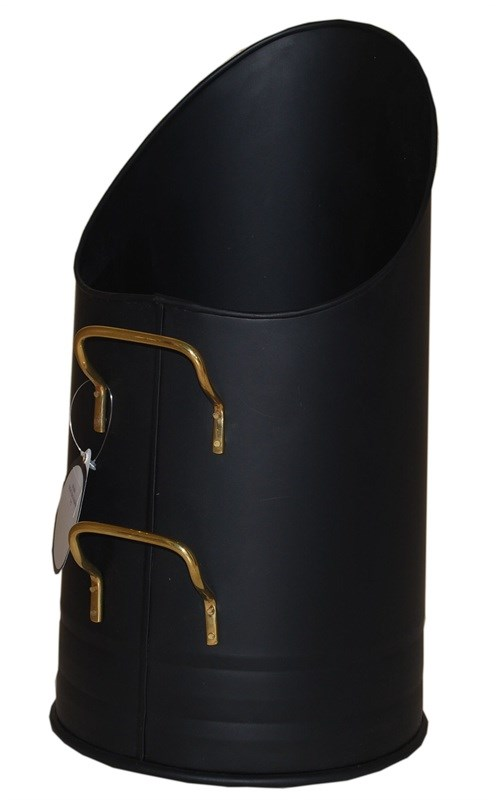 Black with Brass Short Coal Hod