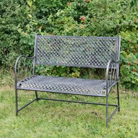 Black with Silver Metal Garden Bench