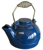 Blue Enamel Cast Iron Kettle Tea Pot 2 L