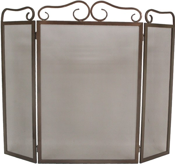 Bronze Folding Fire Screen Available in Two Sizes