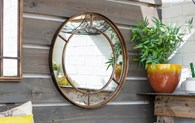 Brushed Gold Painted Metal Garden Mirror Round