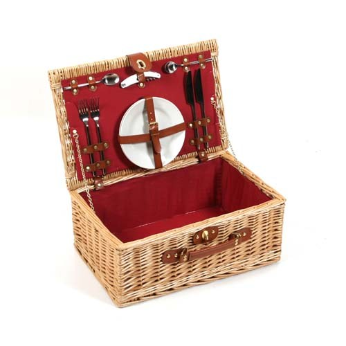 Buckingham Luxury Hamper Buff Willow Leather Picnic Basket