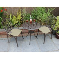Cast Aluminium Bistro Set with Cushions