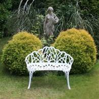 Cast Aluminium Floral Garden Bench White