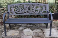 Cast Iron Bench with Fairies Steel Frame