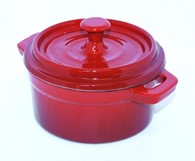 Cast Iron Enamel Stock Pot in Red or Black