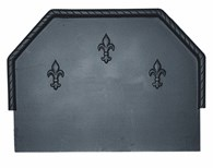 Cast Iron Fire Back with Fleur De Lys Two Sizes