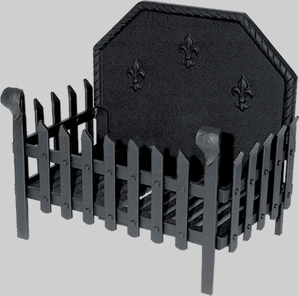 Cast Iron Fire Basket with Back Plate Various Sizes