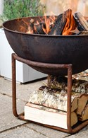 Cast Iron Firepit with Log Store Black or Rust
