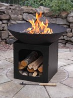 Cast Iron Firepit with Log Store