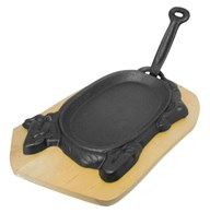 Cast Iron Sizzler Pan and Wooden Base Cow Design