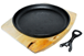Cast Iron Skillet Frying Sizzler Pan with Wooden Trivet
