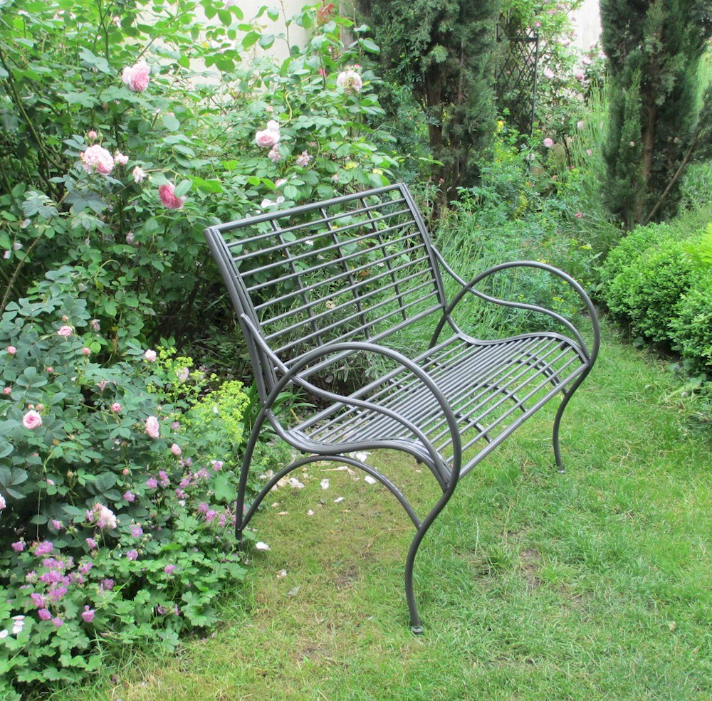 Charcoal Metal Shabby Chic Garden Bench