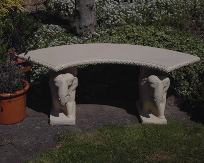 Classic Curved Elephant Stone Garden Bench Rustic Natural Cream