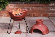 Clay Chimenea and Barbeque Combined in Red, Green or Yellow