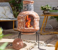 Clay Chimenea and BBQ in One Top Lifts Off