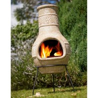 Clay Chimenea with Flower Motif