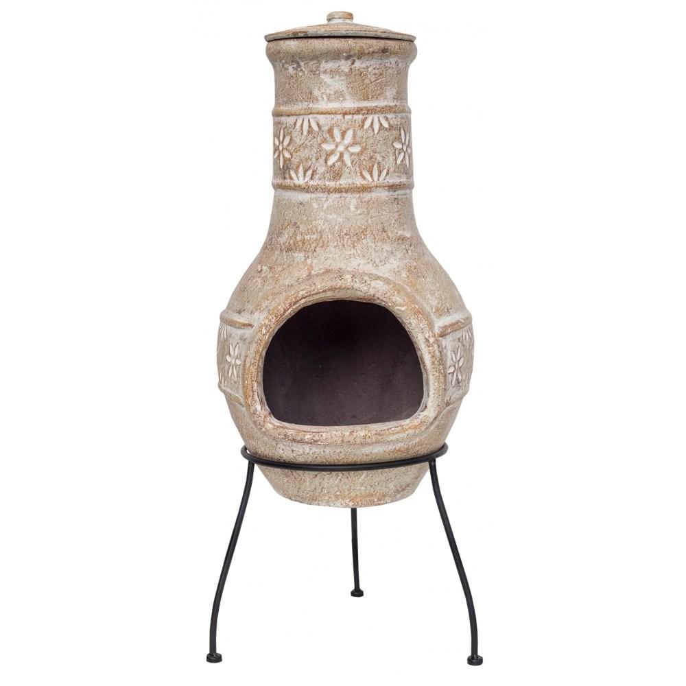 Flower Clay Chimenea Patio Heater Clay Chiminea Fire Pit ...
