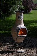 Clay Chimenea with Grapes Design