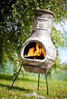 Clay Chimenea with Leaf Motif