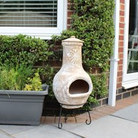 Clay Chimenea with Sun Motif