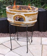 Clay Firepit with Barbeque Grill and Stand