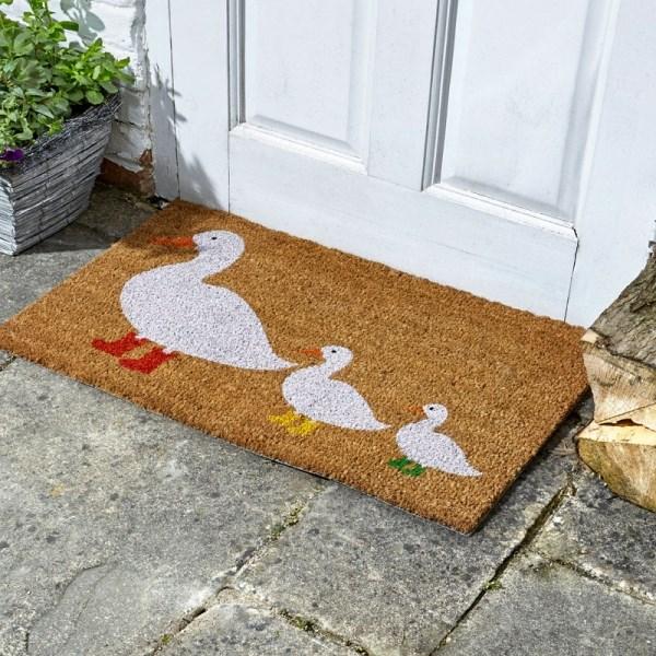 Coir Door Mat with Duck in Wellies