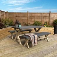 Concrete Garden Table with 2 Benches