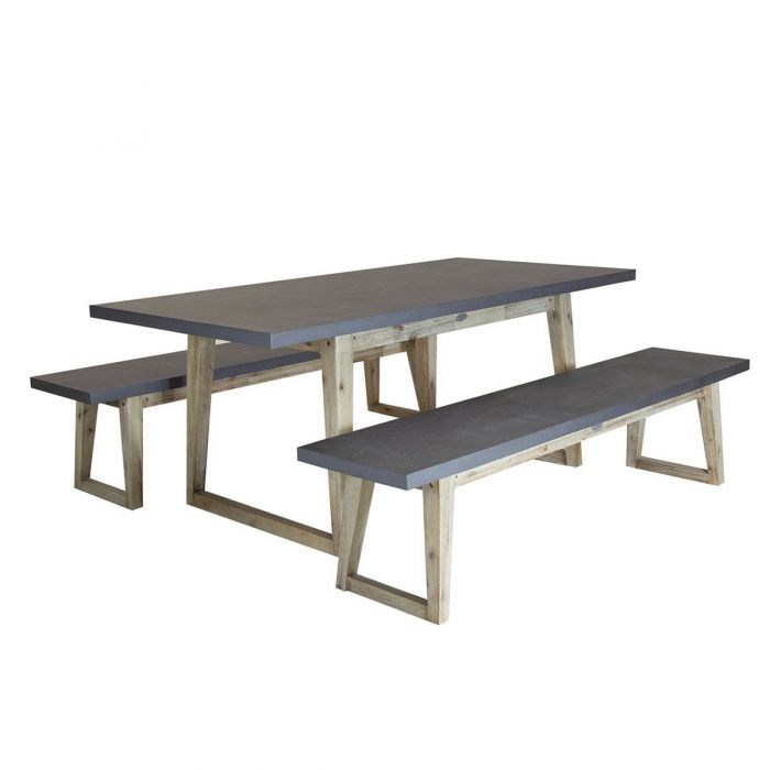 Cement Garden Table with 2 Benches
