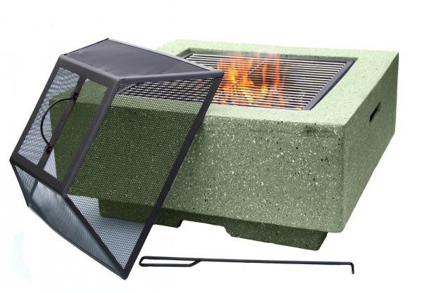 Contemporary Firepit with Spark Guard and BBQ Grill
